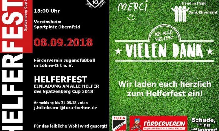 Einladung Helferfest Spatzenberg Cup 2018